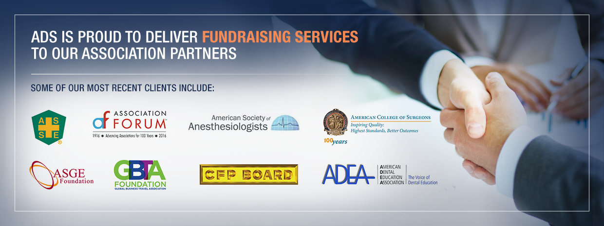 ADS fundraising partners and men shaking hands in partnership